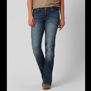 BKE 28R Dakota Bootcut Jeans Distressed Dark Wash